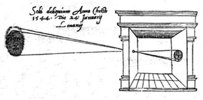 Älteste bekannte Illustration einer Camera obscura. Stich von R. Gemma Frisius, De radio astronomico et geometrico liber, 1545.