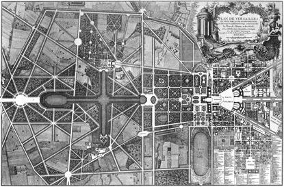 Gesamtplan von Schloss und Plan, 1746. Das Schloss befindet sich im rechten Bilddrittel. Quelle: Wikipedia: http://de.wikipedia.org/wiki/Schloss_Versailles#Die_Parkanlagen.