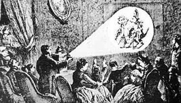 Eine Laterna Magica-Projektion vor einer feinen Gesellschaft.