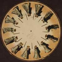 """Eadweard Muybridges """"A Couple Waltzing"""". Phenakistiskop-Scheibe von 1893."""
